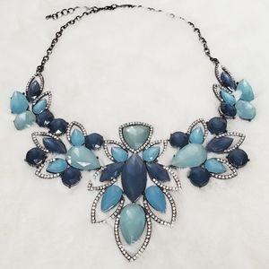 3/$21 INC Blue Gemstone Statement Necklace NWOT